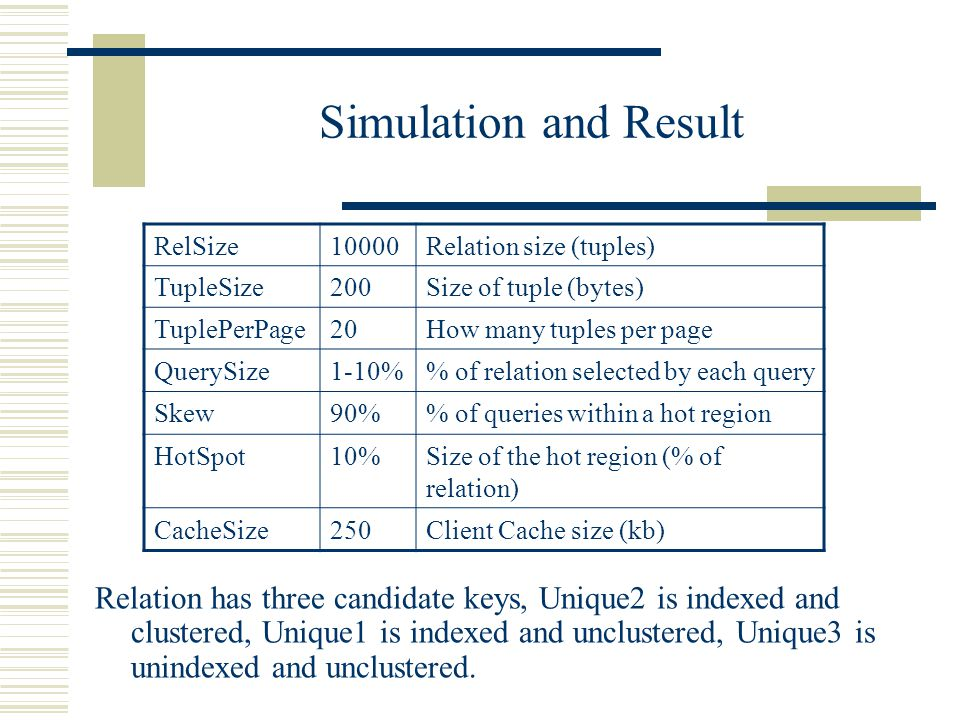 Simulation and Result Relation has three candidate keys, Unique2 is indexed and clustered, Unique1 is indexed and unclustered, Unique3 is unindexed and unclustered.