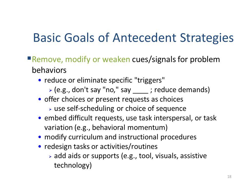 Basic Goals of Antecedent Strategies 18 Remove, modify or weaken cues/signals for problem behaviors reduce or eliminate specific