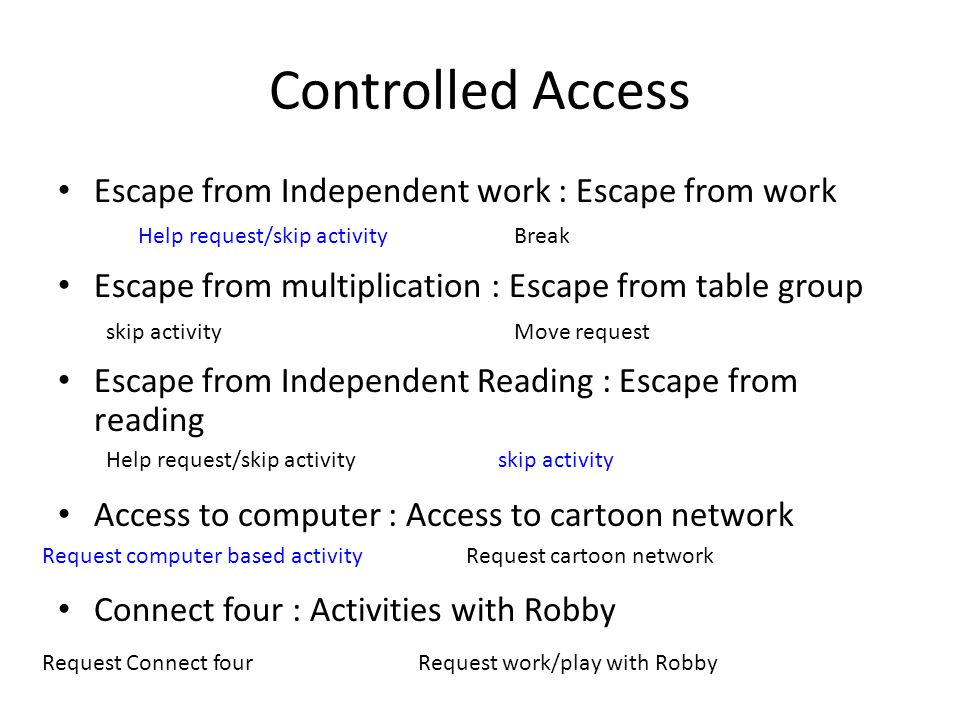 Controlled Access Escape from Independent work : Escape from work Escape from multiplication : Escape from table group Escape from Independent Reading
