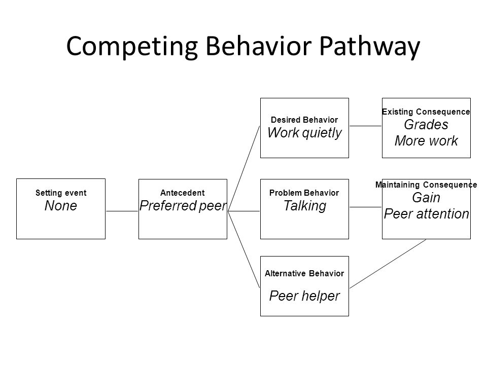 Competing Behavior Pathway Setting event None Antecedent Preferred peer Problem Behavior Talking Maintaining Consequence Gain Peer attention Alternative Behavior Peer helper Existing Consequence Grades More work Desired Behavior Work quietly