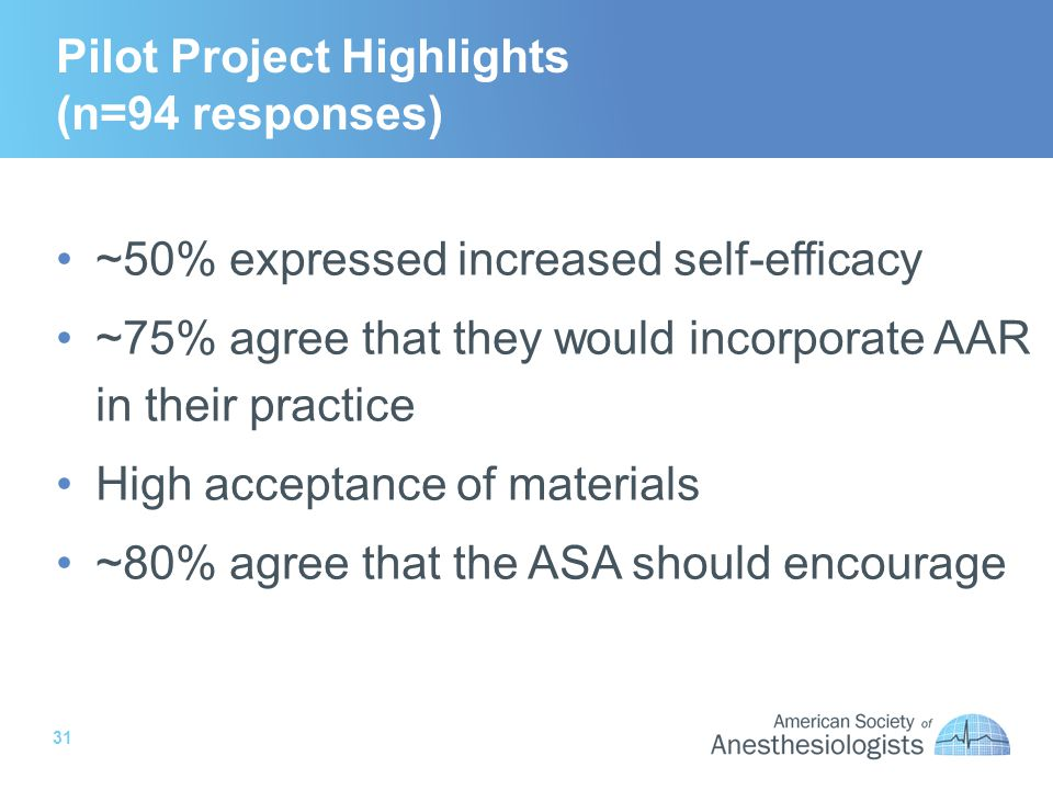 31 Pilot Project Highlights (n=94 responses) ~50% expressed increased self-efficacy ~75% agree that they would incorporate AAR in their practice High acceptance of materials ~80% agree that the ASA should encourage