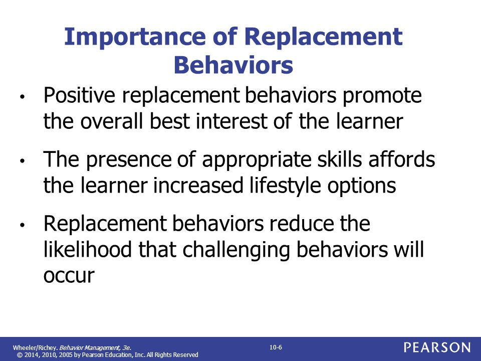 Wheeler/Richey. Behavior Management, 3e. © 2014, 2010, 2005 by Pearson Education, Inc. All Rights Reserved 10-6 Importance of Replacement Behaviors Po