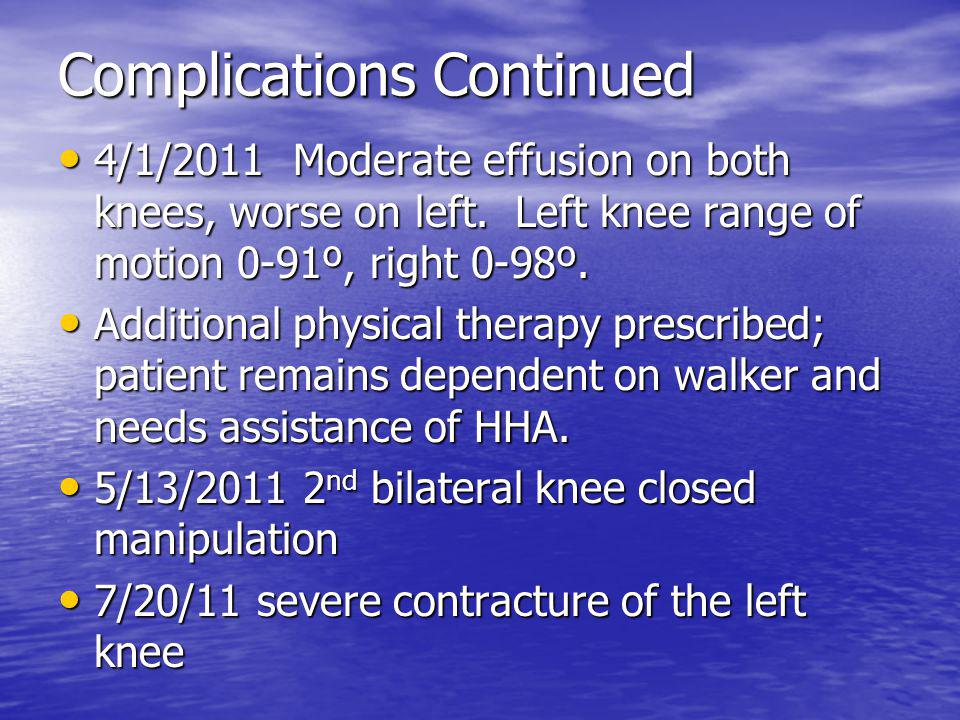 Complications Continued 4/1/2011 Moderate effusion on both knees, worse on left.