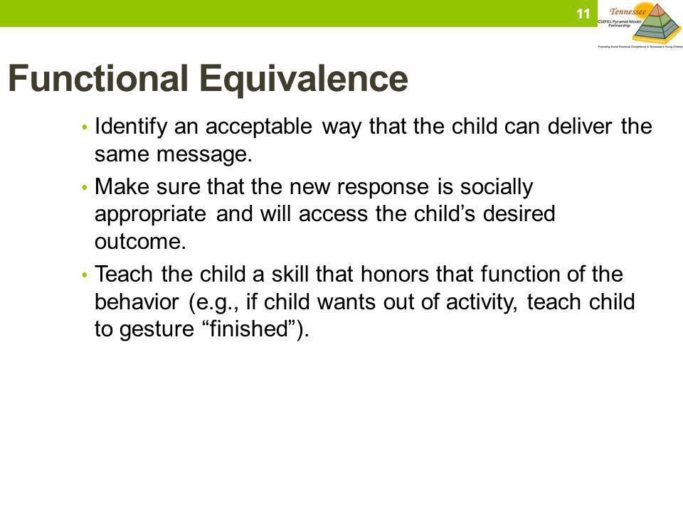Functional Equivalence Identify an acceptable way that the child can deliver the same message. Make sure that the new response is socially appropriate
