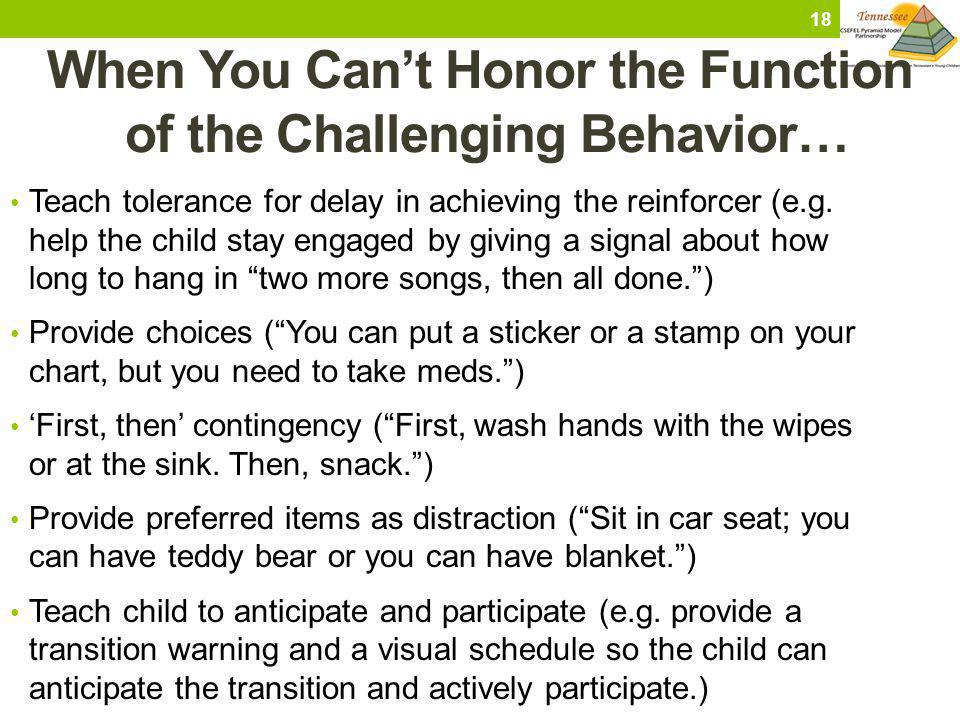 When You Cant Honor the Function of the Challenging Behavior… Teach tolerance for delay in achieving the reinforcer (e.g. help the child stay engaged