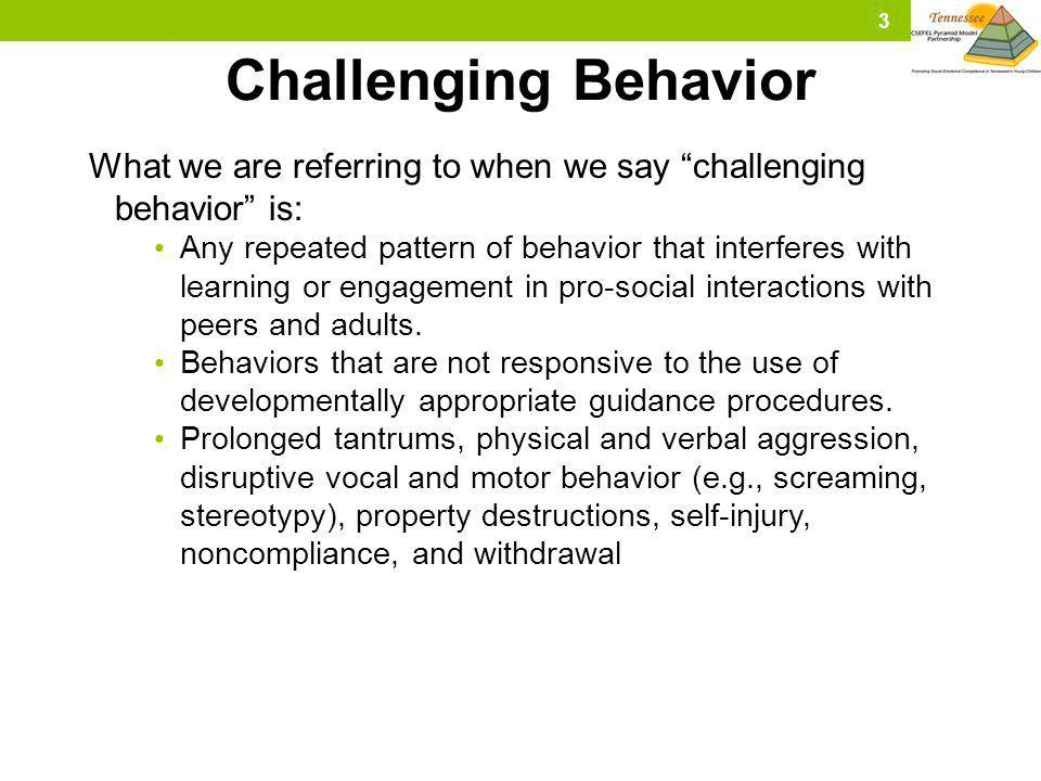 Challenging Behavior What we are referring to when we say challenging behavior is: Any repeated pattern of behavior that interferes with learning or e