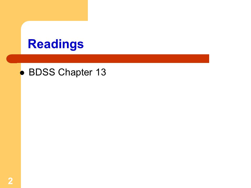 2 Readings BDSS Chapter 13