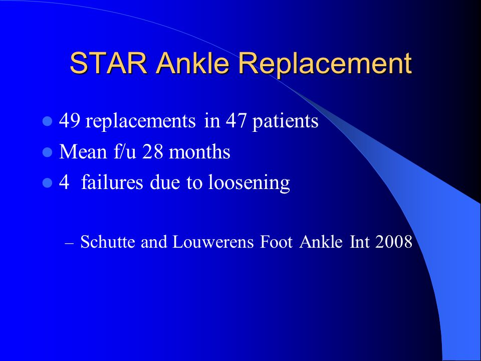 STAR Ankle Replacement 49 replacements in 47 patients Mean f/u 28 months 4 failures due to loosening – Schutte and Louwerens Foot Ankle Int 2008