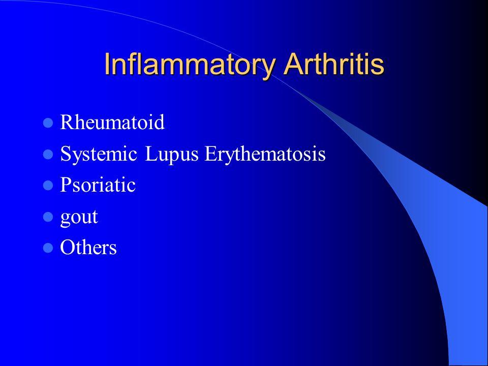 Inflammatory Arthritis Rheumatoid Systemic Lupus Erythematosis Psoriatic gout Others