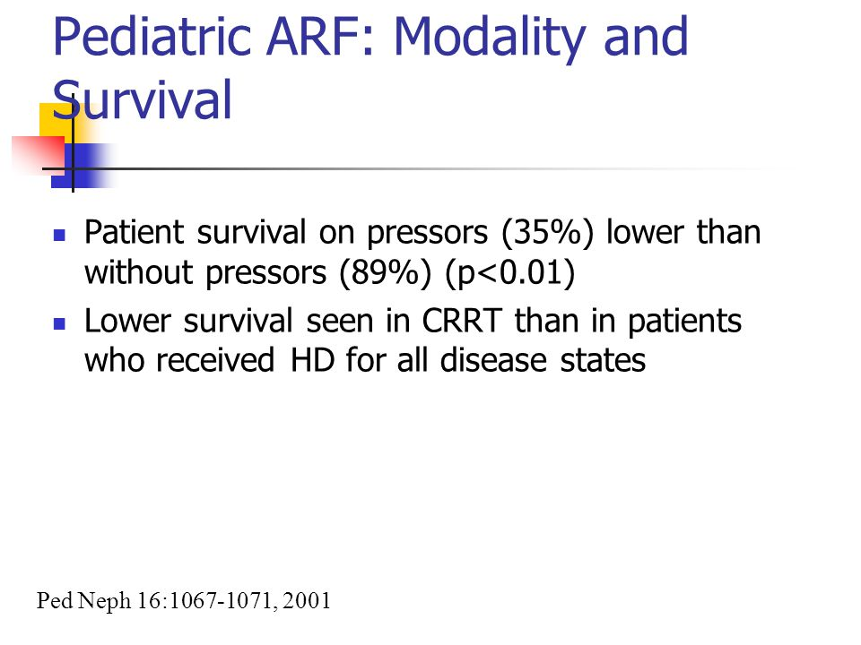 Pediatric ARF: Modality and Survival Patient survival on pressors (35%) lower than without pressors (89%) (p<0.01) Lower survival seen in CRRT than in