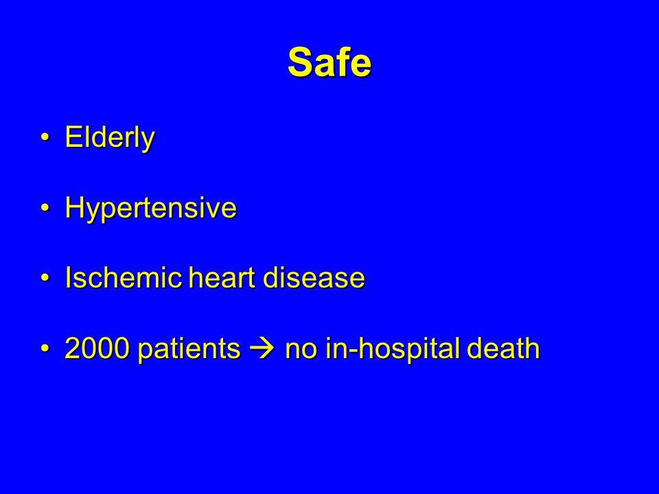 Safe ElderlyElderly HypertensiveHypertensive Ischemic heart diseaseIschemic heart disease 2000 patients no in-hospital death2000 patients no in-hospit