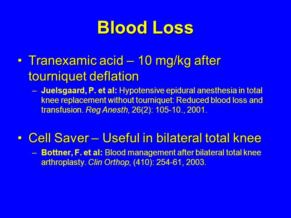 Blood Loss Tranexamic acid – 10 mg/kg after tourniquet deflationTranexamic acid – 10 mg/kg after tourniquet deflation – –Juelsgaard, P. et al: Hypoten