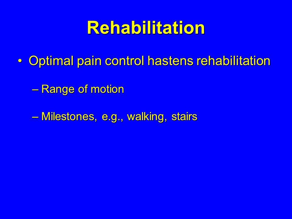 Rehabilitation Optimal pain control hastens rehabilitationOptimal pain control hastens rehabilitation –Range of motion –Milestones, e.g., walking, sta