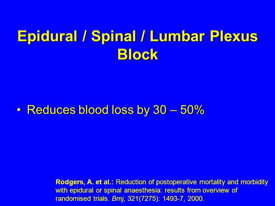 Epidural / Spinal / Lumbar Plexus Block Reduces blood loss by 30 – 50%Reduces blood loss by 30 – 50% Rodgers, A. et al.: Reduction of postoperative mo