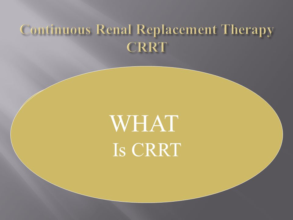 WHAT Is CRRT HOW To use CRRT WHAT Is CRRT