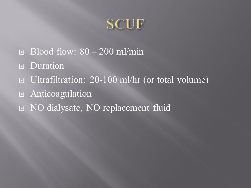 Blood flow: 80 – 200 ml/min Duration Ultrafiltration: 20-100 ml/hr (or total volume) Anticoagulation NO dialysate, NO replacement fluid
