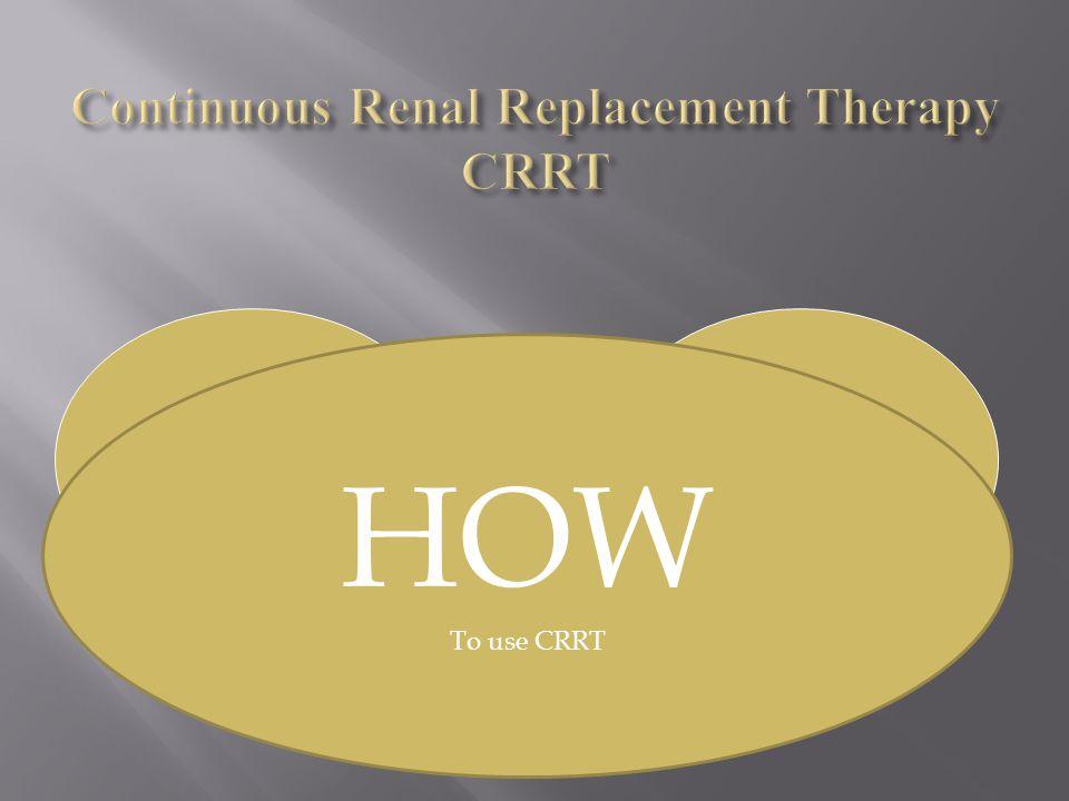 WHAT Is CRRT HOW To use CRRT HOW To use CRRT