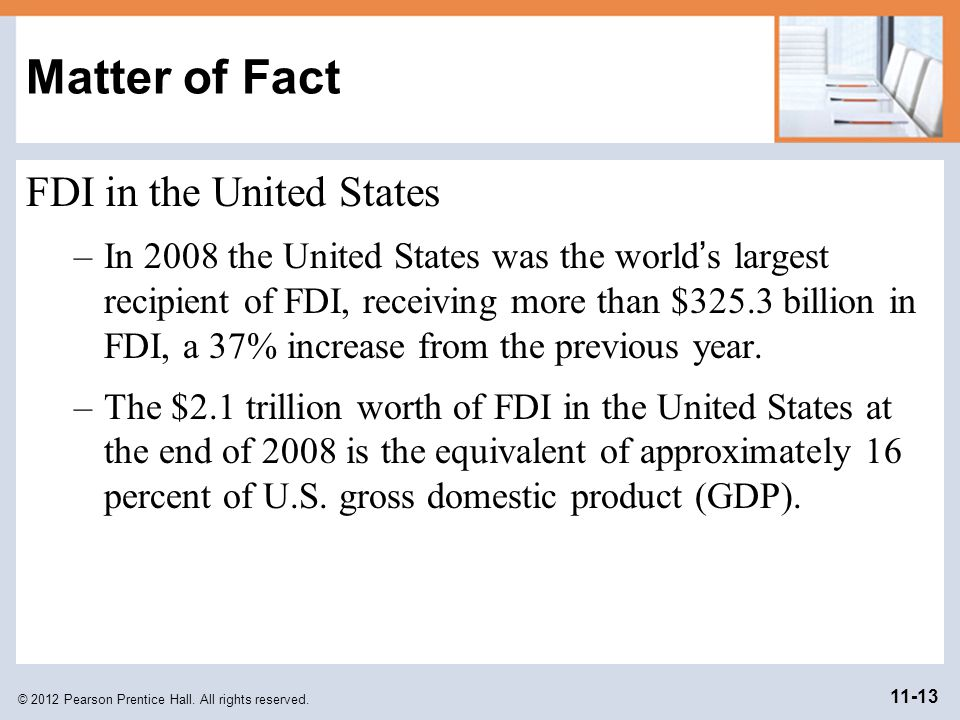 © 2012 Pearson Prentice Hall. All rights reserved. 11-13 Matter of Fact FDI in the United States –In 2008 the United States was the world s largest re