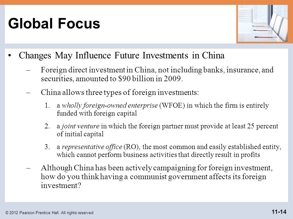 © 2012 Pearson Prentice Hall. All rights reserved. 11-14 Global Focus Changes May Influence Future Investments in China –Foreign direct investment in