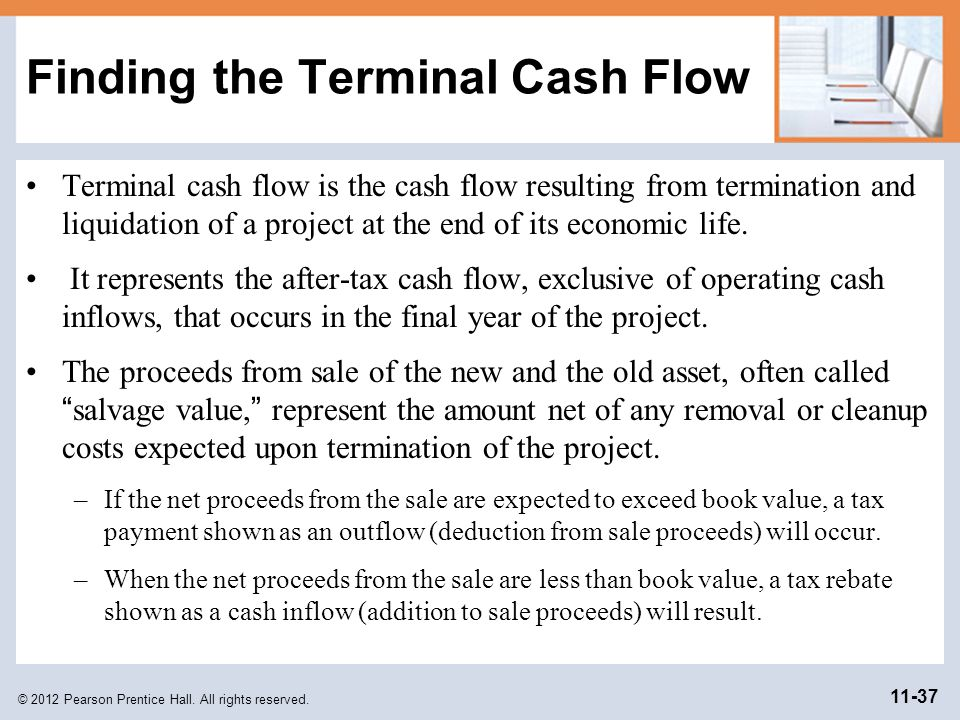 © 2012 Pearson Prentice Hall. All rights reserved. 11-37 Finding the Terminal Cash Flow Terminal cash flow is the cash flow resulting from termination