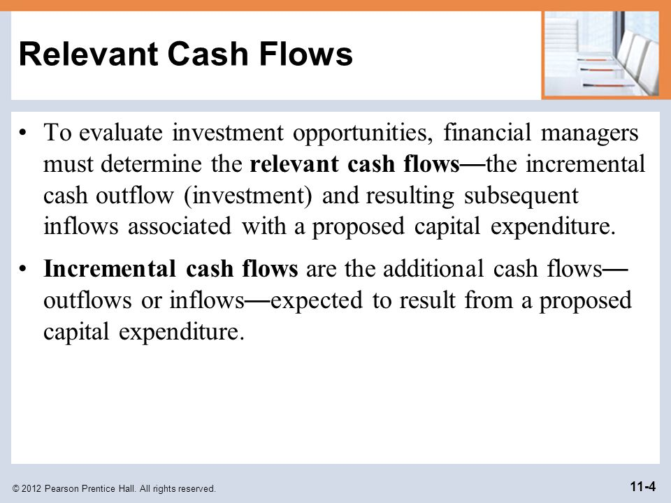 © 2012 Pearson Prentice Hall. All rights reserved. 11-4 Relevant Cash Flows To evaluate investment opportunities, financial managers must determine th