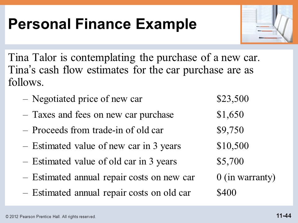 © 2012 Pearson Prentice Hall. All rights reserved. 11-44 Personal Finance Example Tina Talor is contemplating the purchase of a new car. Tina s cash f