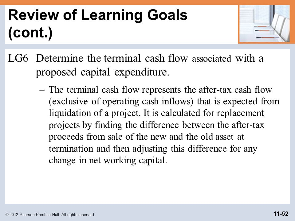 © 2012 Pearson Prentice Hall. All rights reserved. 11-52 Review of Learning Goals (cont.) LG6Determine the terminal cash flow associated with a propos