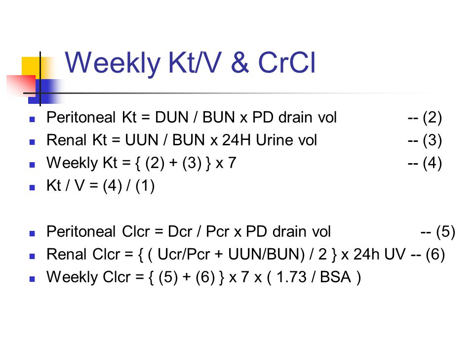 Minimal Recommendations for PD Dose DOQI CAPDCCPDNIPD Kt/V per wk2.02.12.2 CrCl per wk606366 Canadian Society of Nephrology High/HALow/LA Kt/V per wk
