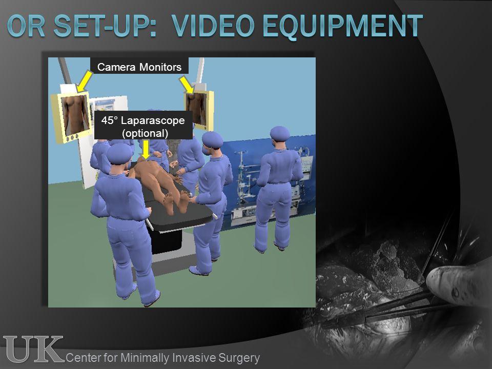 Center for Minimally Invasive Surgery 45° Laparascope (optional) Camera Monitors