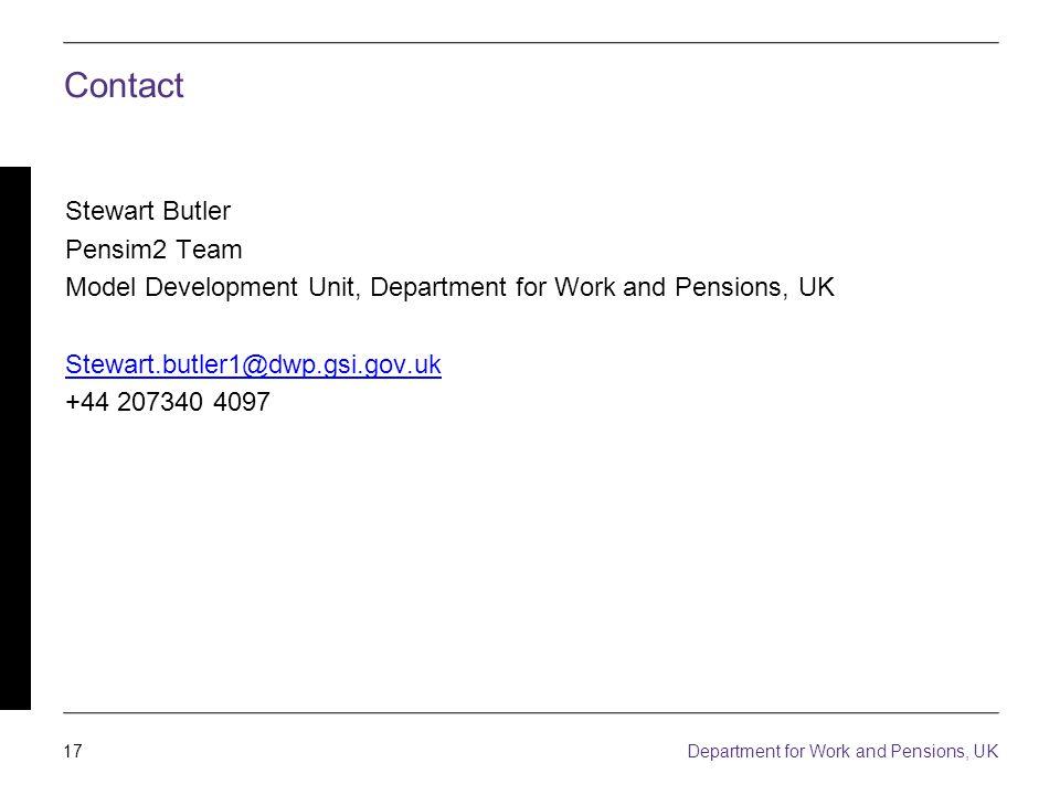 17 Department for Work and Pensions, UK Contact Stewart Butler Pensim2 Team Model Development Unit, Department for Work and Pensions, UK Stewart.butler1@dwp.gsi.gov.uk +44 207340 4097