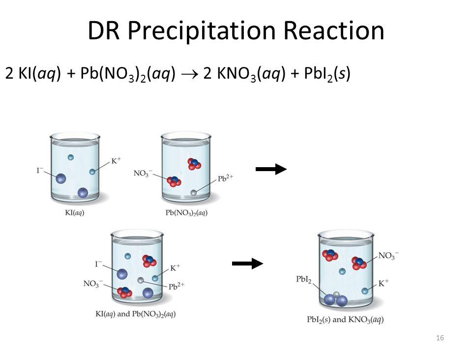 16 DR Precipitation Reaction 2 KI(aq) + Pb(NO 3 ) 2 (aq) 2 KNO 3 (aq) + PbI 2 (s)