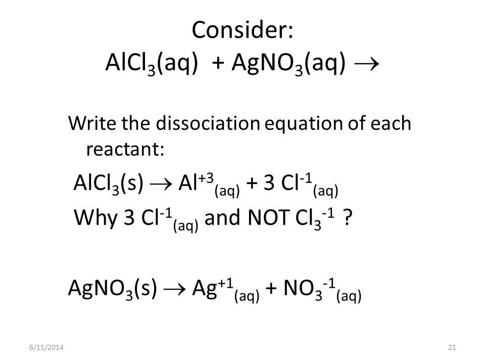 6/11/201421 Consider: AlCl 3 (aq) + AgNO 3 (aq) Write the dissociation equation of each reactant: AlCl 3 (s) Al +3 (aq) + 3 Cl -1 (aq) Why 3 Cl -1 (aq) and NOT Cl 3 -1 .