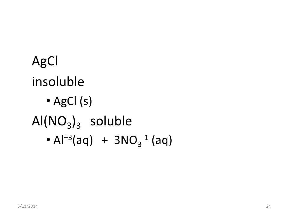 6/11/201424 AgCl insoluble AgCl (s) Al(NO 3 ) 3 soluble Al +3 (aq) + 3NO 3 -1 (aq)