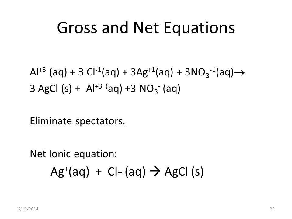 6/11/201425 Gross and Net Equations Al +3 (aq) + 3 Cl -1 (aq) + 3Ag +1 (aq) + 3NO 3 -1 (aq) 3 AgCl (s) + Al +3 ( aq) +3 NO 3 - (aq) Eliminate spectators.
