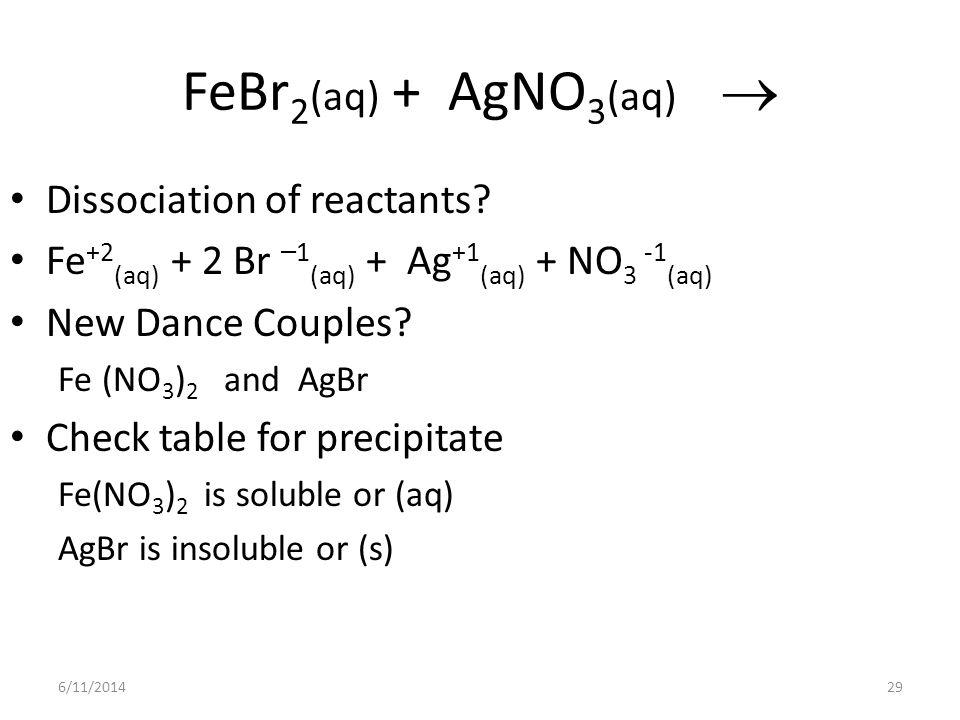6/11/201429 FeBr 2 (aq) + AgNO 3 (aq) Dissociation of reactants? Fe +2 (aq) + 2 Br – 1 (aq) + Ag +1 (aq) + NO 3 -1 (aq) New Dance Couples? Fe (NO 3 )