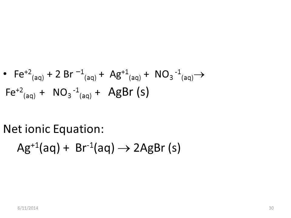 6/11/201430 Fe +2 (aq) + 2 Br – 1 (aq) + Ag +1 (aq) + NO 3 -1 (aq) Fe +2 (aq) + NO 3 -1 (aq) + AgBr (s) Net ionic Equation: Ag +1 (aq) + Br -1 (aq) 2AgBr (s)