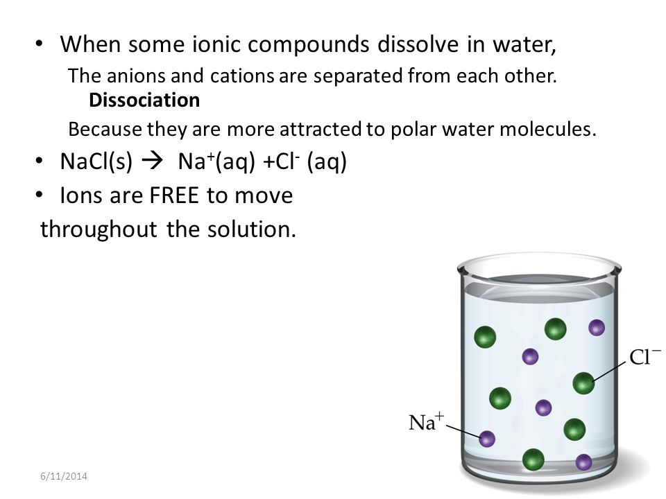 6/11/20144 When some ionic compounds dissolve in water, The anions and cations are separated from each other.