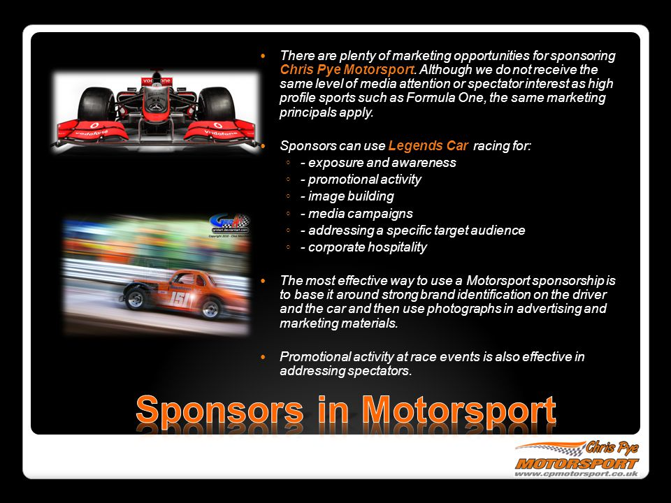 There are plenty of marketing opportunities for sponsoring Chris Pye Motorsport.