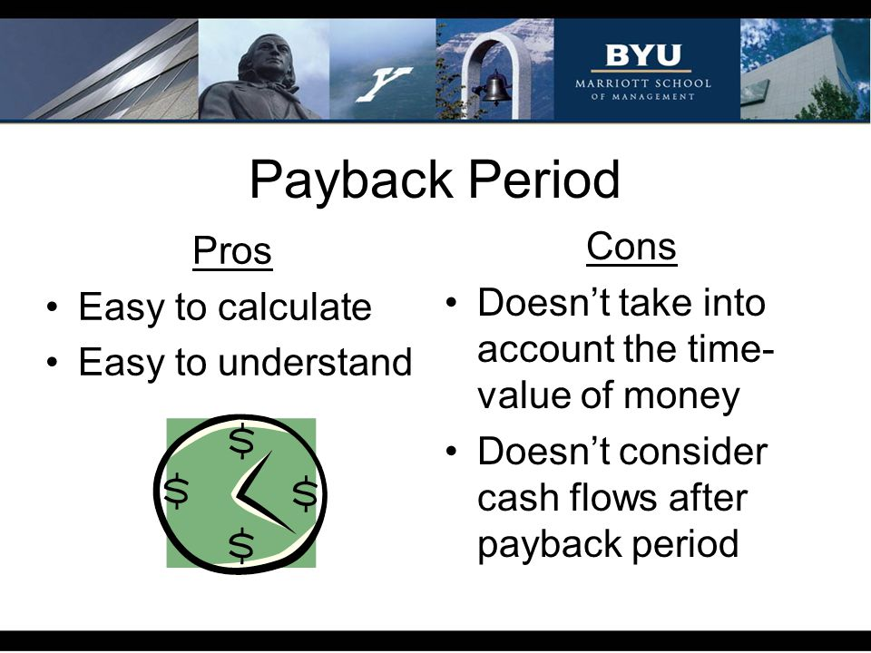 Payback Period Pros Easy to calculate Easy to understand Cons Doesnt take into account the time- value of money Doesnt consider cash flows after payba