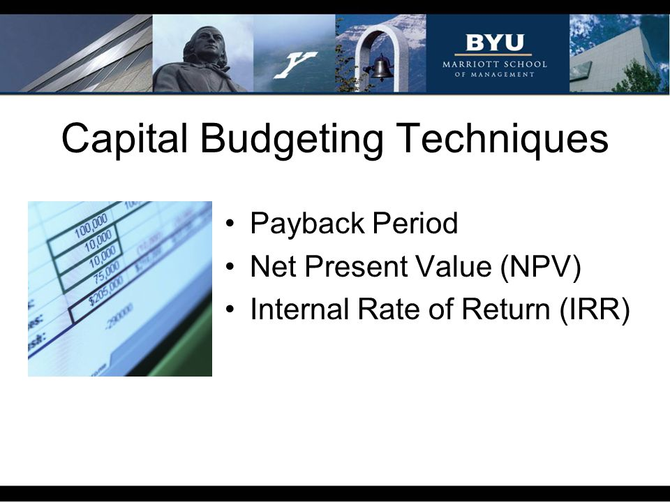 Capital Budgeting Techniques Payback Period Net Present Value (NPV) Internal Rate of Return (IRR)