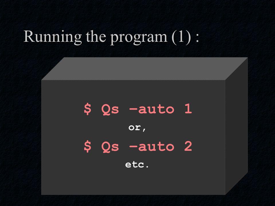 Running the program (1) : $ Qs –auto 1 or, $ Qs –auto 2 etc.