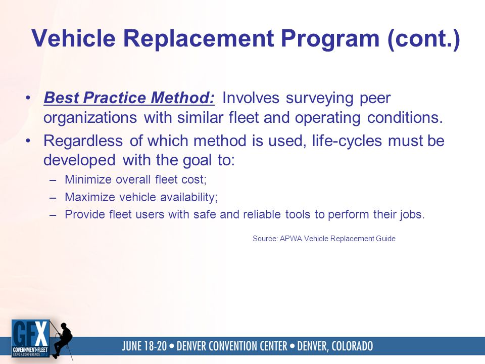 Vehicle Replacement Program (cont.) Best Practice Method: Involves surveying peer organizations with similar fleet and operating conditions.