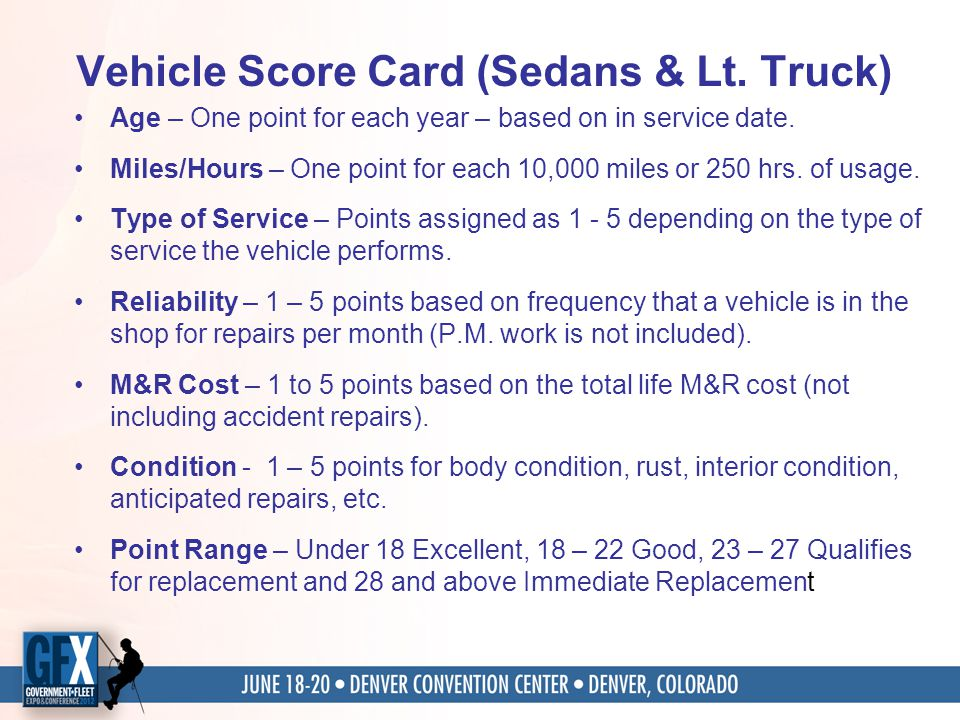 Vehicle Score Card (Sedans & Lt. Truck) Age – One point for each year – based on in service date. Miles/Hours – One point for each 10,000 miles or 250