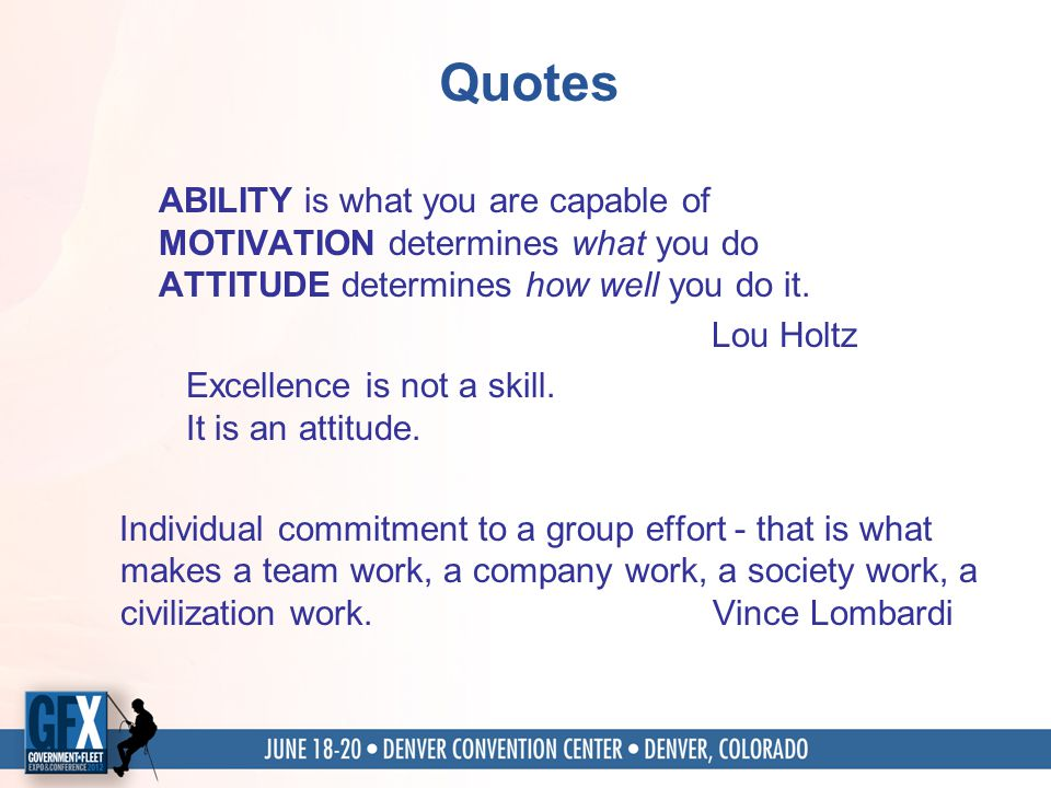 Quotes ABILITY is what you are capable of MOTIVATION determines what you do ATTITUDE determines how well you do it.
