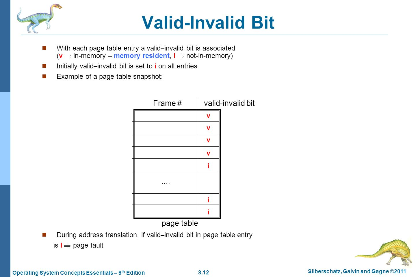 8.12 Silberschatz, Galvin and Gagne ©2011 Operating System Concepts Essentials – 8 th Edition Valid-Invalid Bit With each page table entry a valid–inv