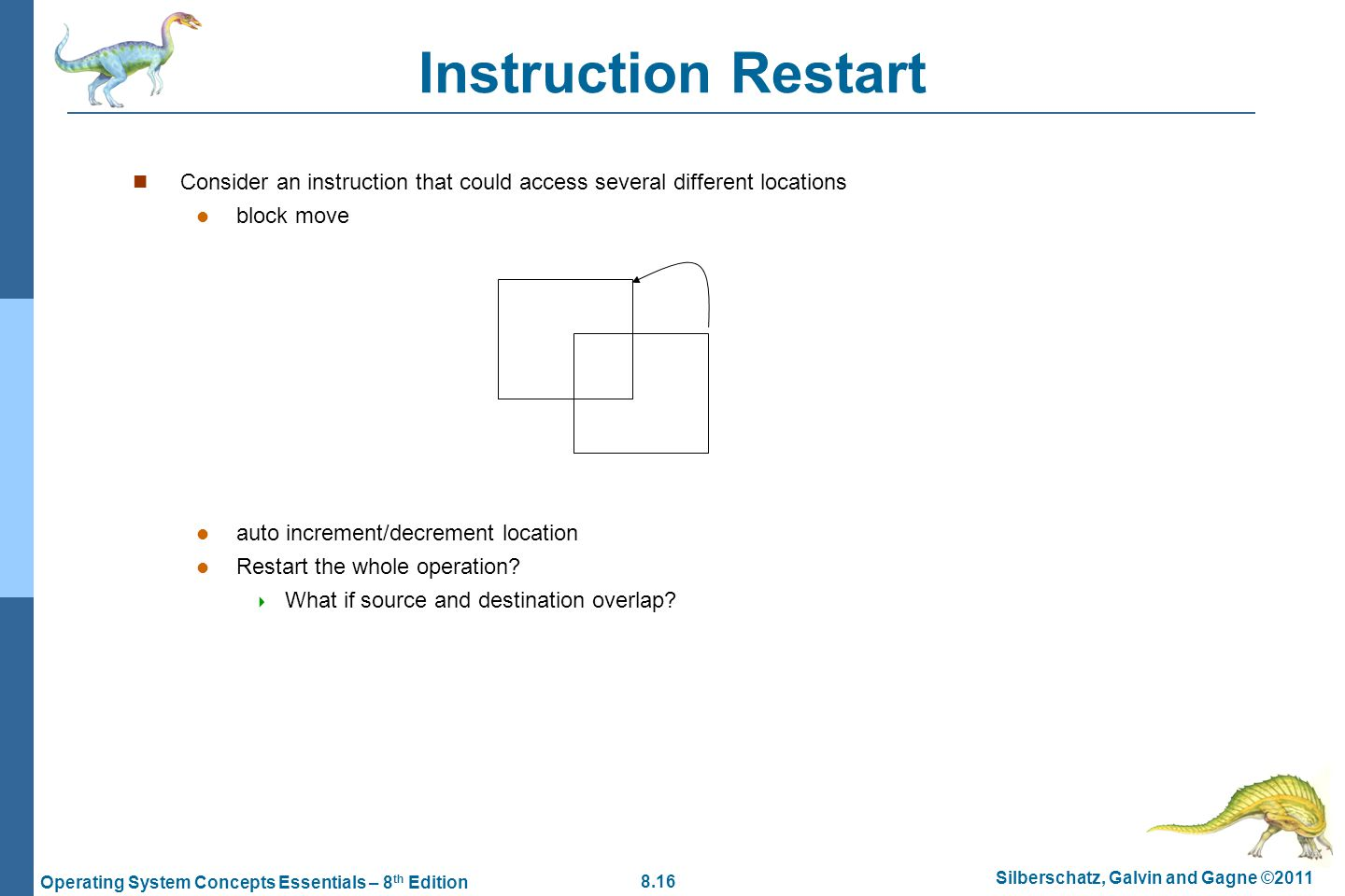 8.16 Silberschatz, Galvin and Gagne ©2011 Operating System Concepts Essentials – 8 th Edition Instruction Restart Consider an instruction that could a