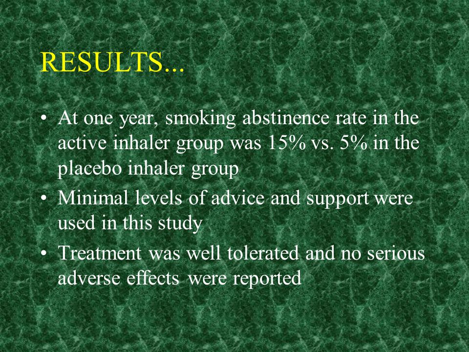 EFFICACY A one year RCT conducted by Tonnesen et al. 286 volunteers recruited through a newspaper ad (each smoked 10+ cigarettes/day) Subjects randoml