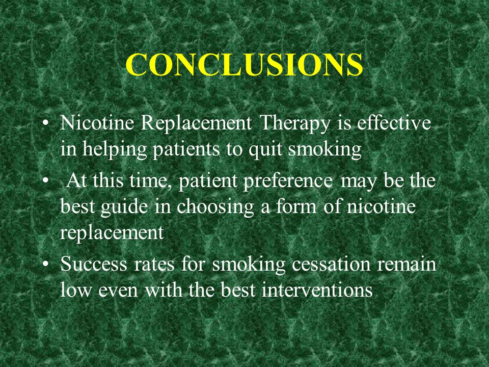 Which form of nicotine replacement is the most effective? How effective are nicotine replacement combinations? (e.g. patch and inhaler)