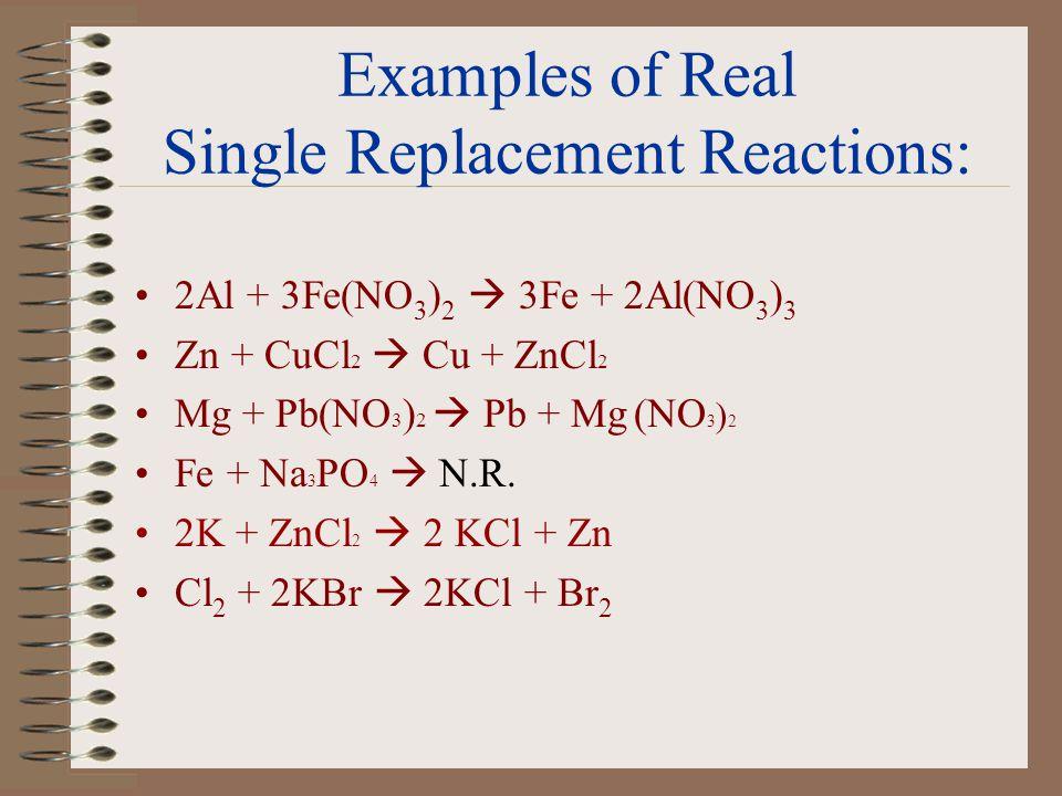 Examples of Single Replacement Reactions: 2Al + 3Fe(NO 3 ) 2 3Fe + 2Al(NO 3 ) 3 Zn + CuCl 2 Mg + Pb(NO 3 ) 2 Fe + Na 3 PO 4 2K + ZnCl 2