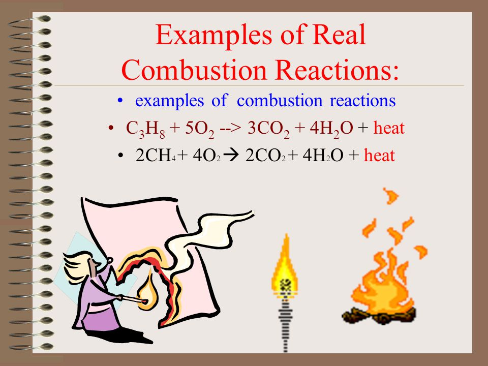 Combustion Reactions: When a substance combines with oxygen releasing a large amount of energy in the form of light and heat, it is a combustion react